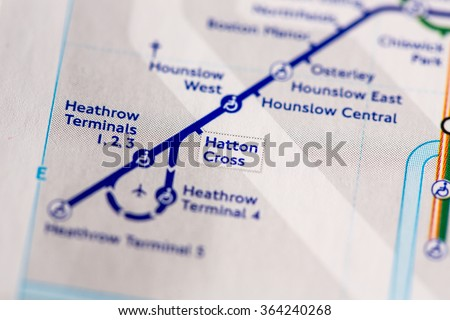 Station on a map of the Piccadilly metro line in London, UK. - stock photo