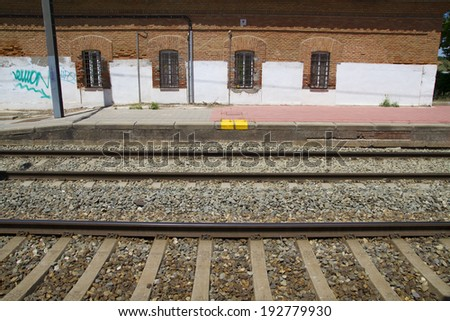 station, rail station, detail of railways in Spain - stock photo