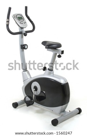 Stationary bicycle. Gym machine. Health and fitness object  over white background. I´ve got more