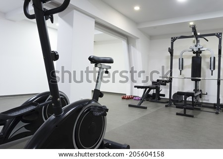 Stationary bicycle in hotel gym