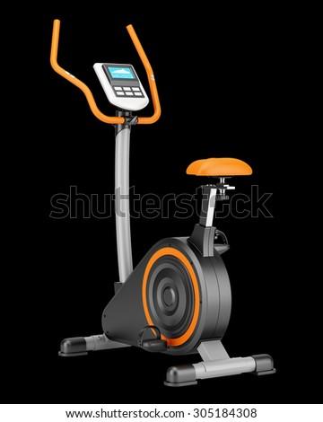 stationary exercise bike isolated on black background - stock photo