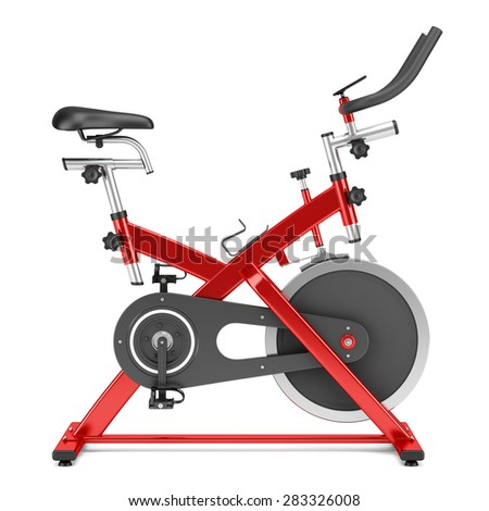stationary exercise bike isolated on white background - stock photo