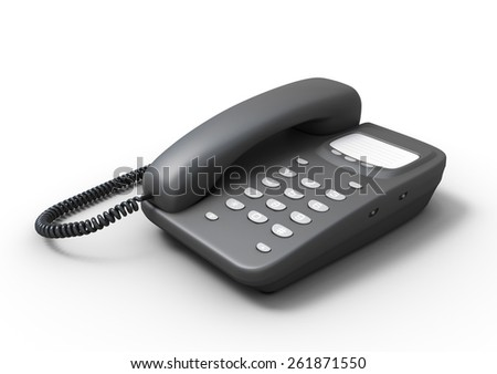 Stationary push-button telephone isolated on white background. 3d render image.