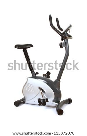 Stationary training bicycle isolated on white background - stock photo