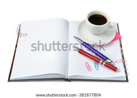 stationery and cup of coffee isolated on white background - stock photo
