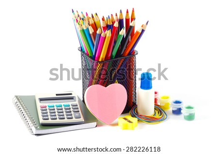 stationery and notebooks isolated on white