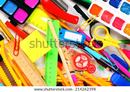 Stationery and school accessories. A bright background.