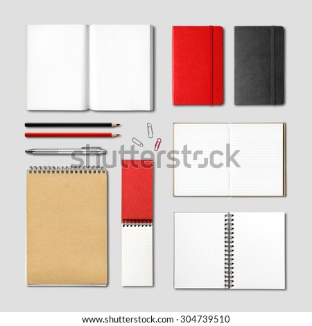 stationery books and notebooks mockup template isolated on grey background - stock photo