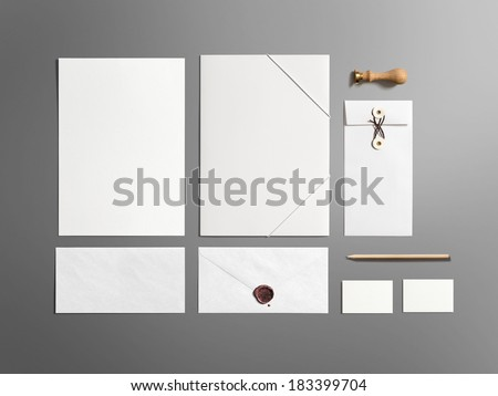 Stationery / Branding, Corporate ID Set on dark background - stock photo