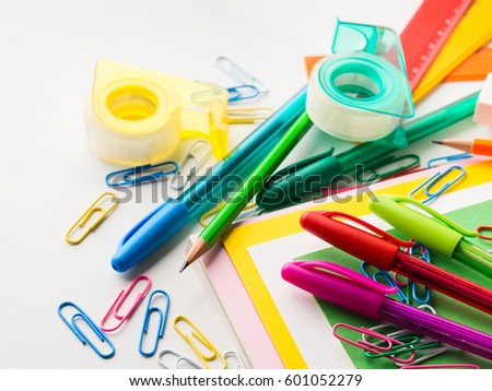 colorful office accessories. Stationery Colorful Writing Tools Accessories Pens Pencils, Color Paper. Back To School. Office
