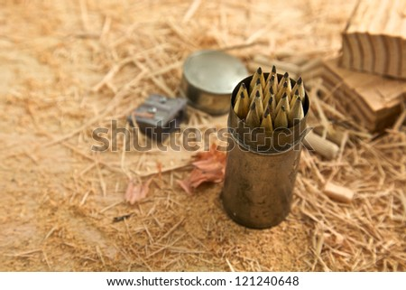 Stationery for a carpenter's bench in a garage - stock photo