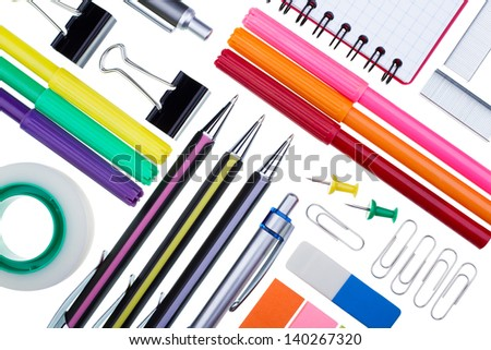 Stationery for office on a white background - stock photo
