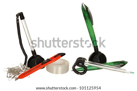 stationery for office: pens, paper and adhesive tape. Isolated on a white background. - stock photo