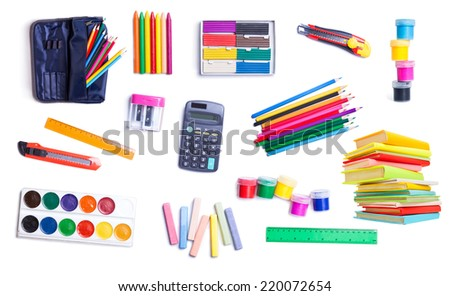 stationery for school and office on white background  - stock photo