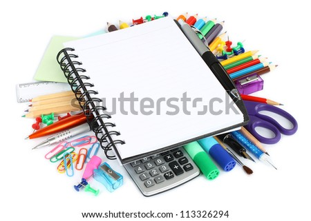Stationery items on a white background