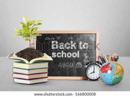 stationery of an assortment  and Blackboard  - stock photo