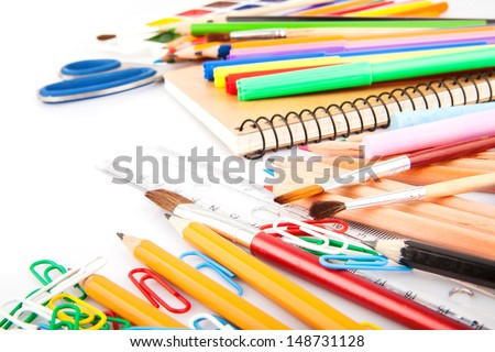 Stationery, office and student accessories isolated on white background.