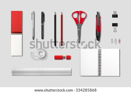 Stationery, office supplies mockup template, isolated on grey background - stock photo