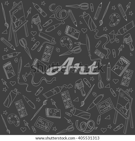 Stationery shop chalk line art design raster illustration. Separate objects. Hand drawn doodle design elements.