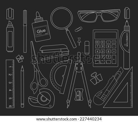 Stationery tools black outlines: marker, paper clip, pen, binder, clip, ruler, glue, zoom, scissors, scotch tape, stapler, corrector, glasses, pencil, calculator, eraser, knife, compasses, protractor - stock photo