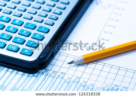 Statistical graphs and calculator with pencil