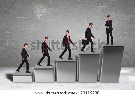 Statistics and business success of a business man climbing on a 3d graph