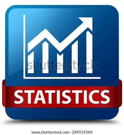 Statistics blue square button - stock photo