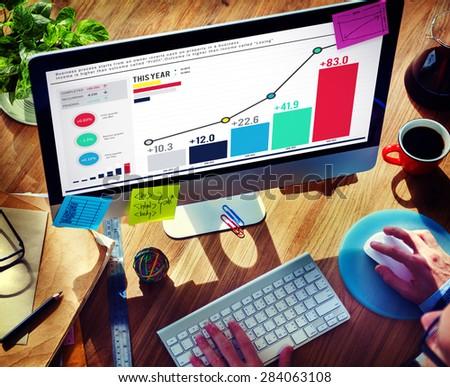 Statistics Data Analysis FInance Success Concept - stock photo