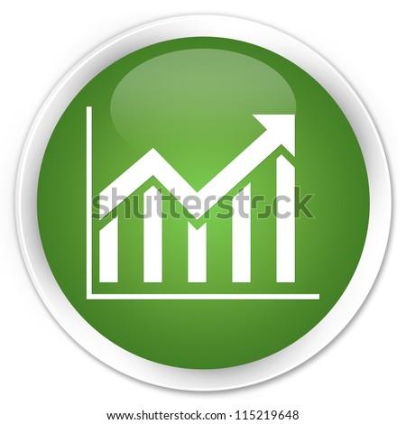 Statistics icon green button - stock photo
