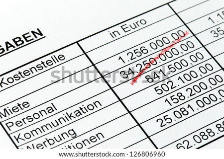 statistics with figures of a rotstiftin german. - stock photo