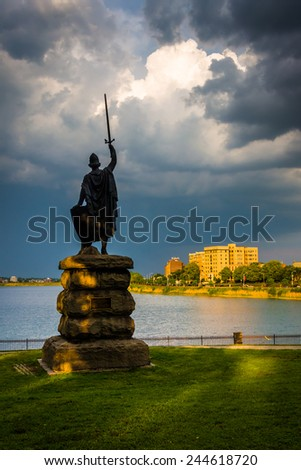 Statue and Druid Lake at Druid Hill Park, Baltimore, Maryland. - stock photo