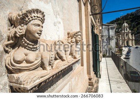 statue and panorama in Scicli, Sicily, Italy, Europe