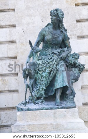 Statue at the Royal palace in Budapest Hungary