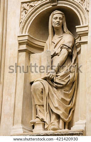 Statue at the Santa Casa of Loreta, a large pilgrimage site in Hradcany, Prague, of a Sybil, an oracular women believed to possess prophetic powers in ancient Greece