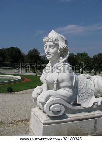 statue belveder, wien, austria - stock photo