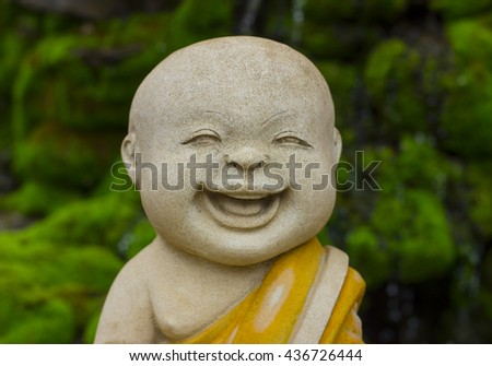 statue buddha be smile and selective focus