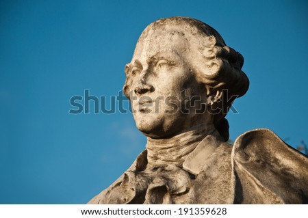 statue by Carlos Goldoni square jean 23 in paris  - stock photo