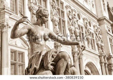 Statue depicting art and literature muse in Paris, France - stock photo