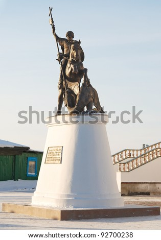 statue George the Victorious in Russian village
