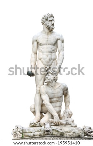 Statue Hercules and Cacus front of the museum Palazzo Vecchio  . Florence, Italy - stock photo