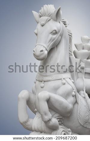 statue Horse  White Kuan Yin Chai 4. - stock photo