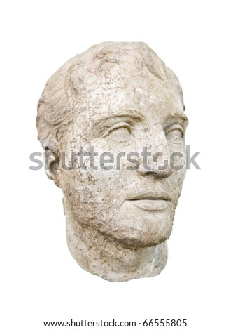 Statue in Delphi museum, Greece - isolated on white background - stock photo