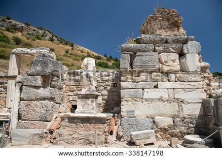 Statue in Ephesus Ancient City in Izmir, Turkey - stock photo