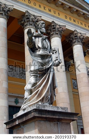 statue in front of Church in Eger | Hungary - stock photo