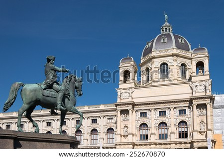 Statue in front of National history museum, Vienna - stock photo