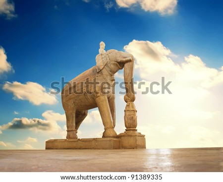 statue in Ranakpur temple, Rajasthan - stock photo