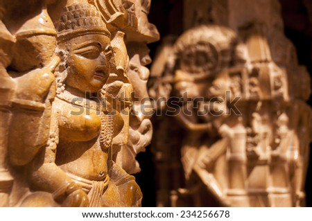 Statue in the jain temple, Jaisalmer, India - stock photo