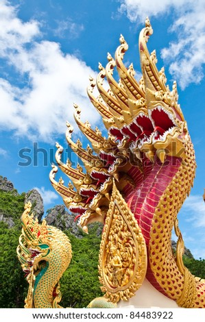statue king of nagas in front of buddhism temple, Chiangmai Province, Thailand