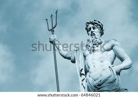Statue Neptun. Date of creation 1800-1900 years. Lvov, Ukraine - stock photo