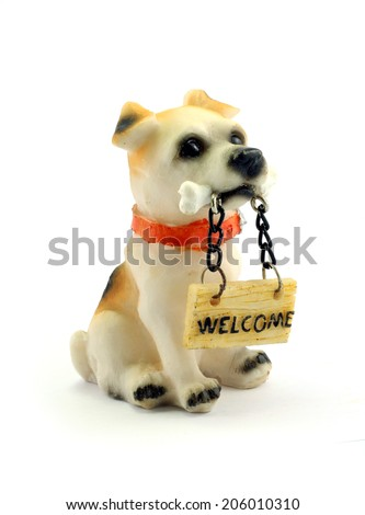 Statue of a dog sitting on white background. - stock photo